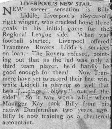 Article praising Liddell in 1940 (Liddell scored actually his hat-trick in his 2nd game for the Regional league side, not his first as it says here)