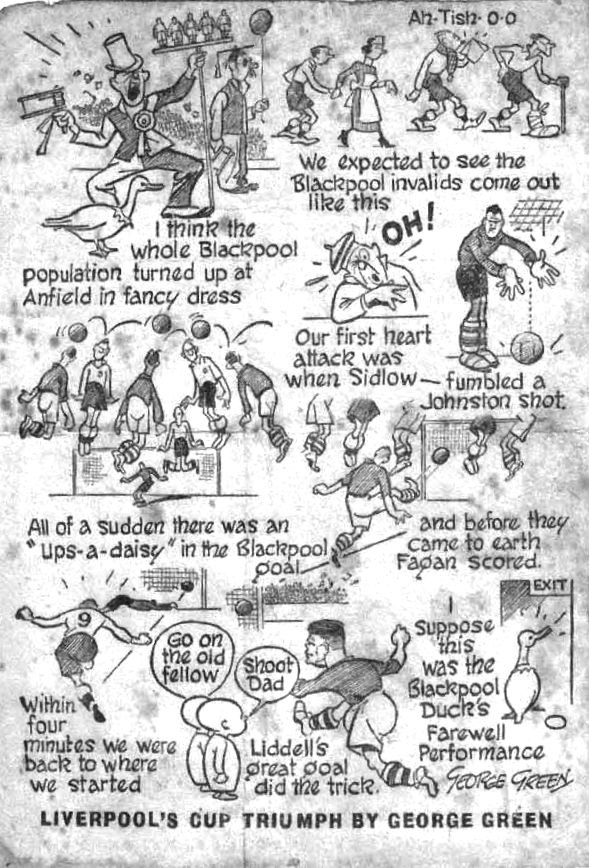 Liverpool's FA Cup triumph on 4th March 1950 as seen by cartoonist George Green.