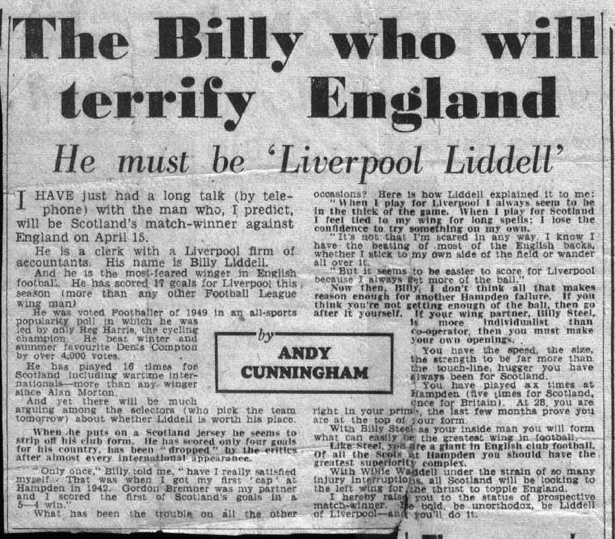 A chat with Billy on his performance for Scotland - from 1950