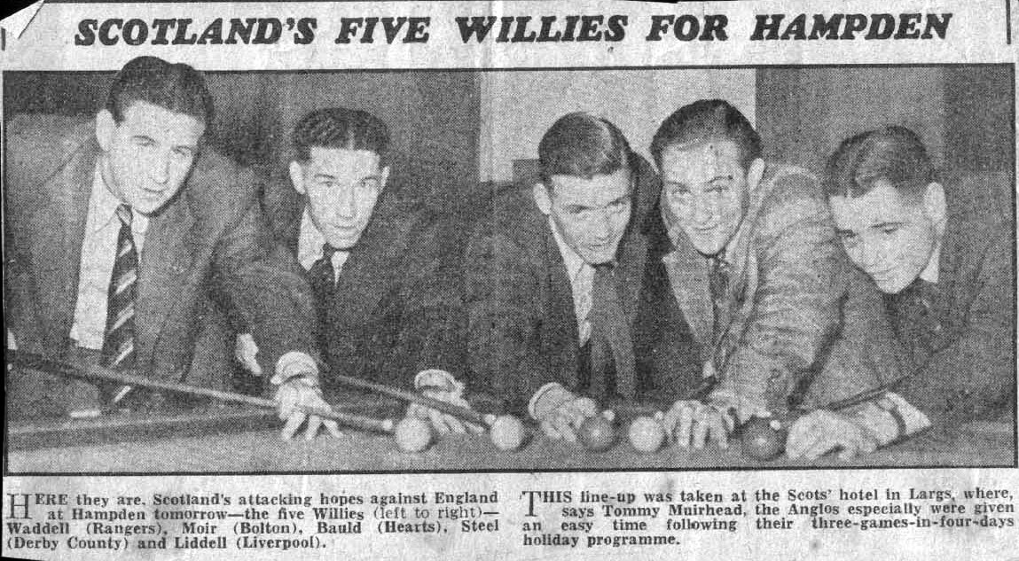 From 14th April 1950 - Five Scotland internationals called William preparing for England at Hampden - Scotland lost 0-1.