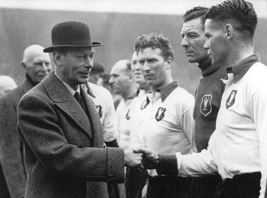King George shakes hands with Billy at Wembley in 1950