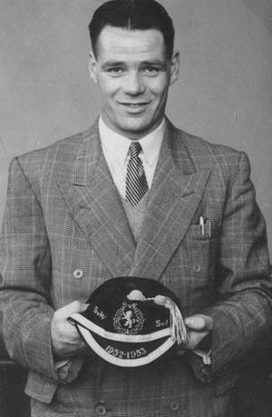 Billy proud with a Scottish cap from 1952-53