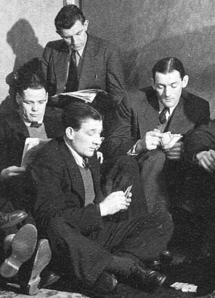 Billy Liddell, Bill Jones, Bob Paisley and Phil Taylor killing time at a hotel room in the early 50s