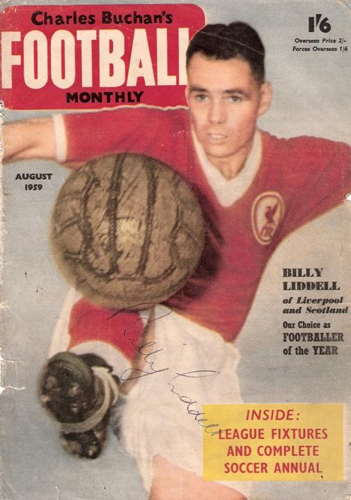Billy on the cover of Charlie Buchan's weekly in August 1959