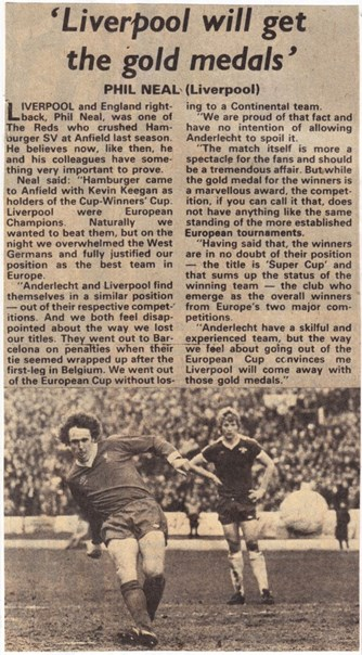 Liverpool will get the gold medals - December 1978