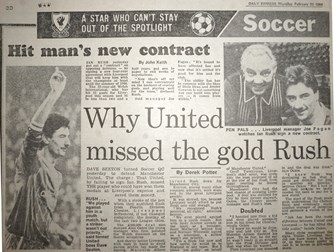 Why united missed the goal Rush - 25 February 1984