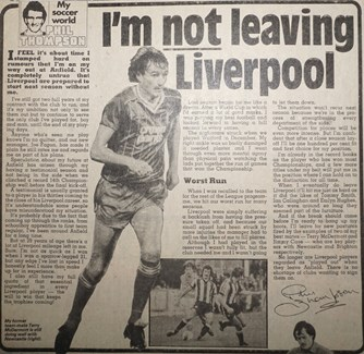 I'm not leaving Liverpool - 25 April 1984