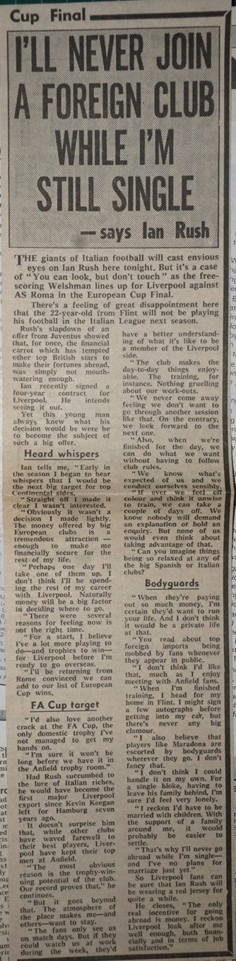 Never join a foreign club while single - 30 May 1984