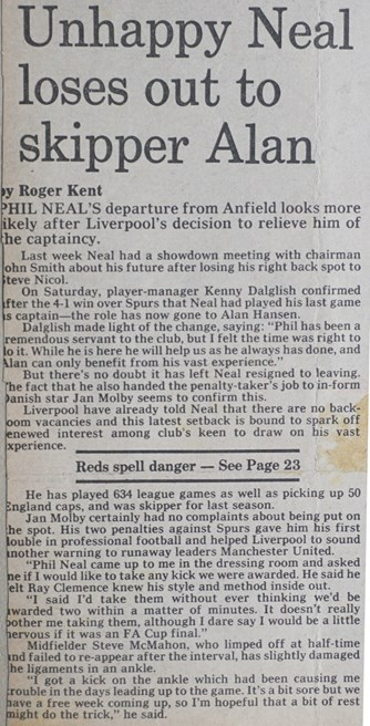 Unhappy Neal loses out to skipper Alan - June 1984