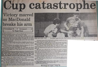 MacDonald breaks arm - 14 January 1986