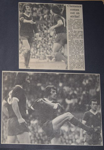 Clemence as a striker in Tommy Smith's testimonial on 27 May 1977!