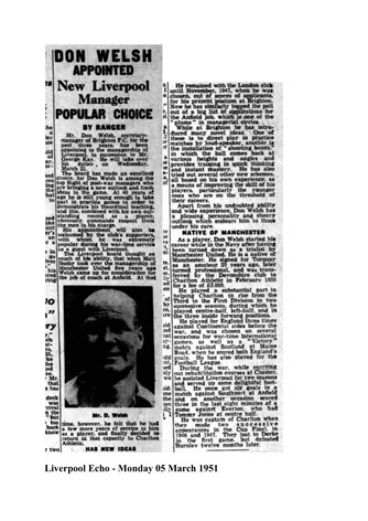 Don Welsh appointed Manager - From Liverpool Echo