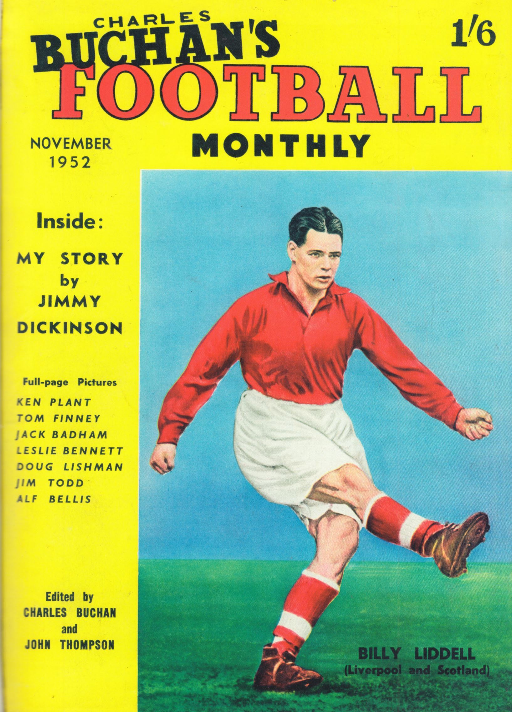 Billy Liddell on the cover of the Football Monthly - November 1952