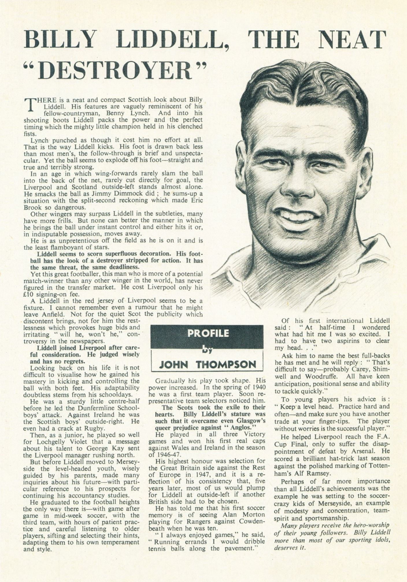 The neat destroyer - Football Monthly November 1952
