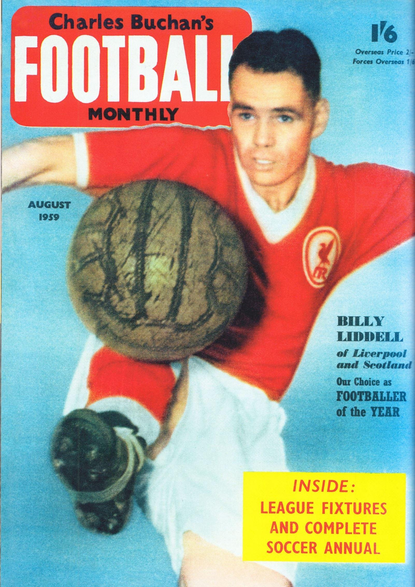Billy Liddell on the cover of the Football Monthly - August 1959