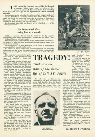 Tragedy start of his football life - Football Monthly March 1966