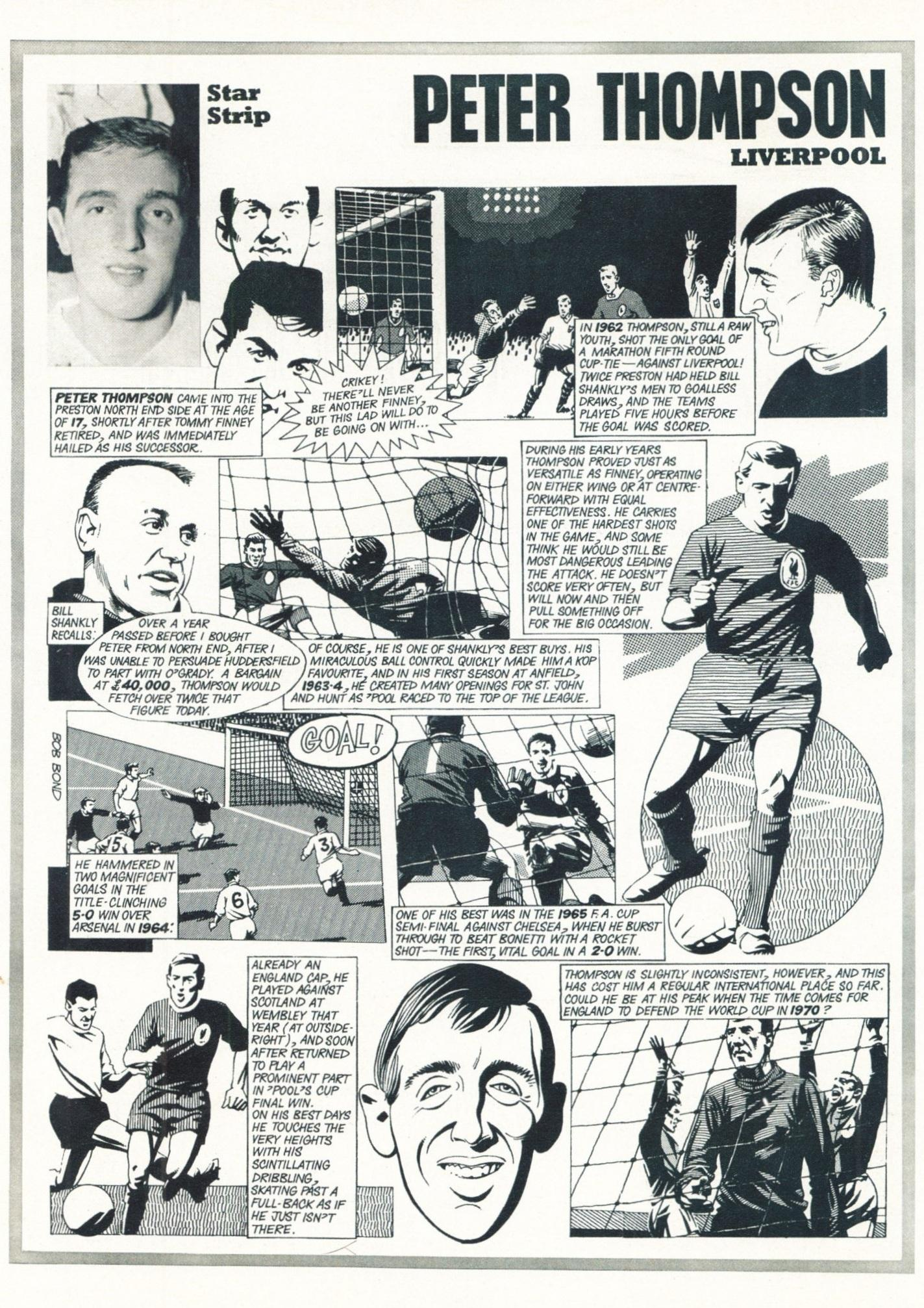 Star Strip - Cartoon of Peter Thompson in Football Monthly May 1968