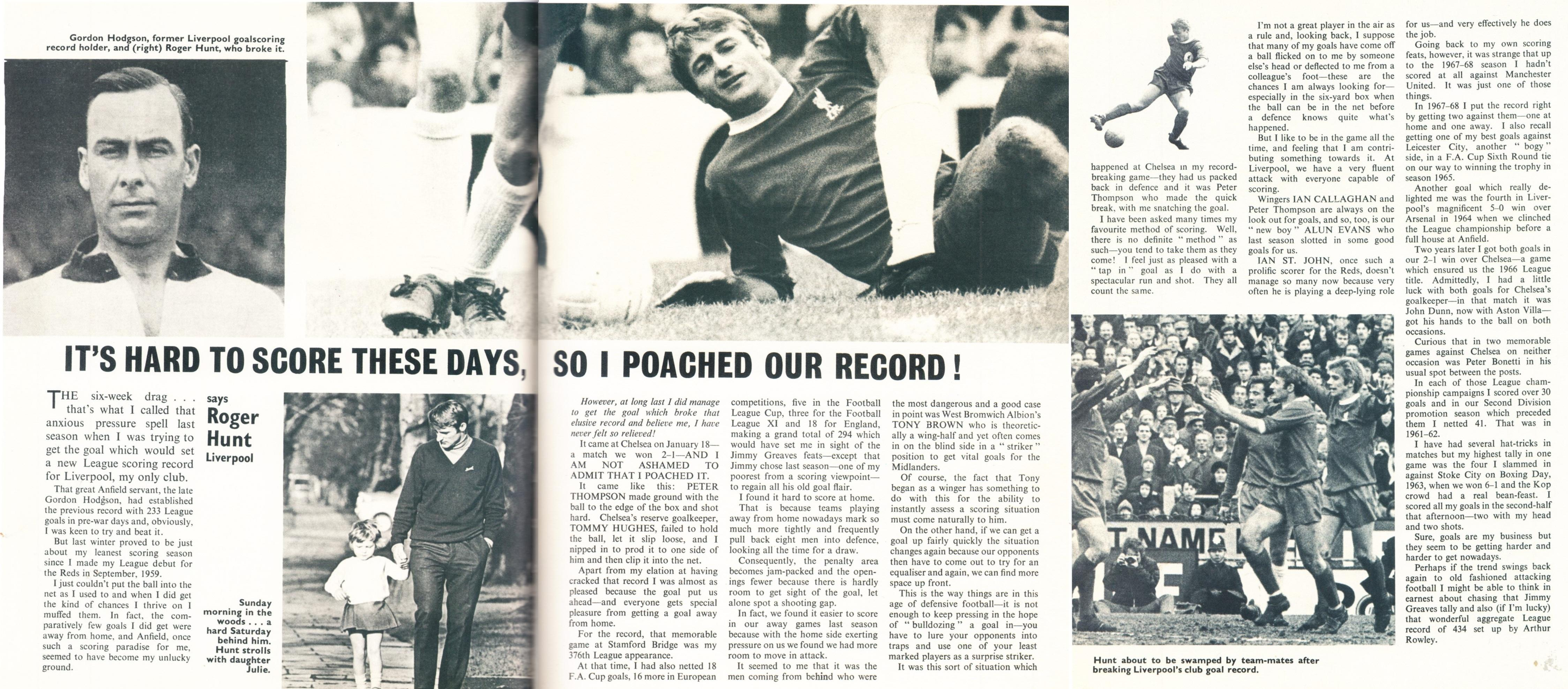 I poached our record! says Roger Hunt - Football Monthly January 1969