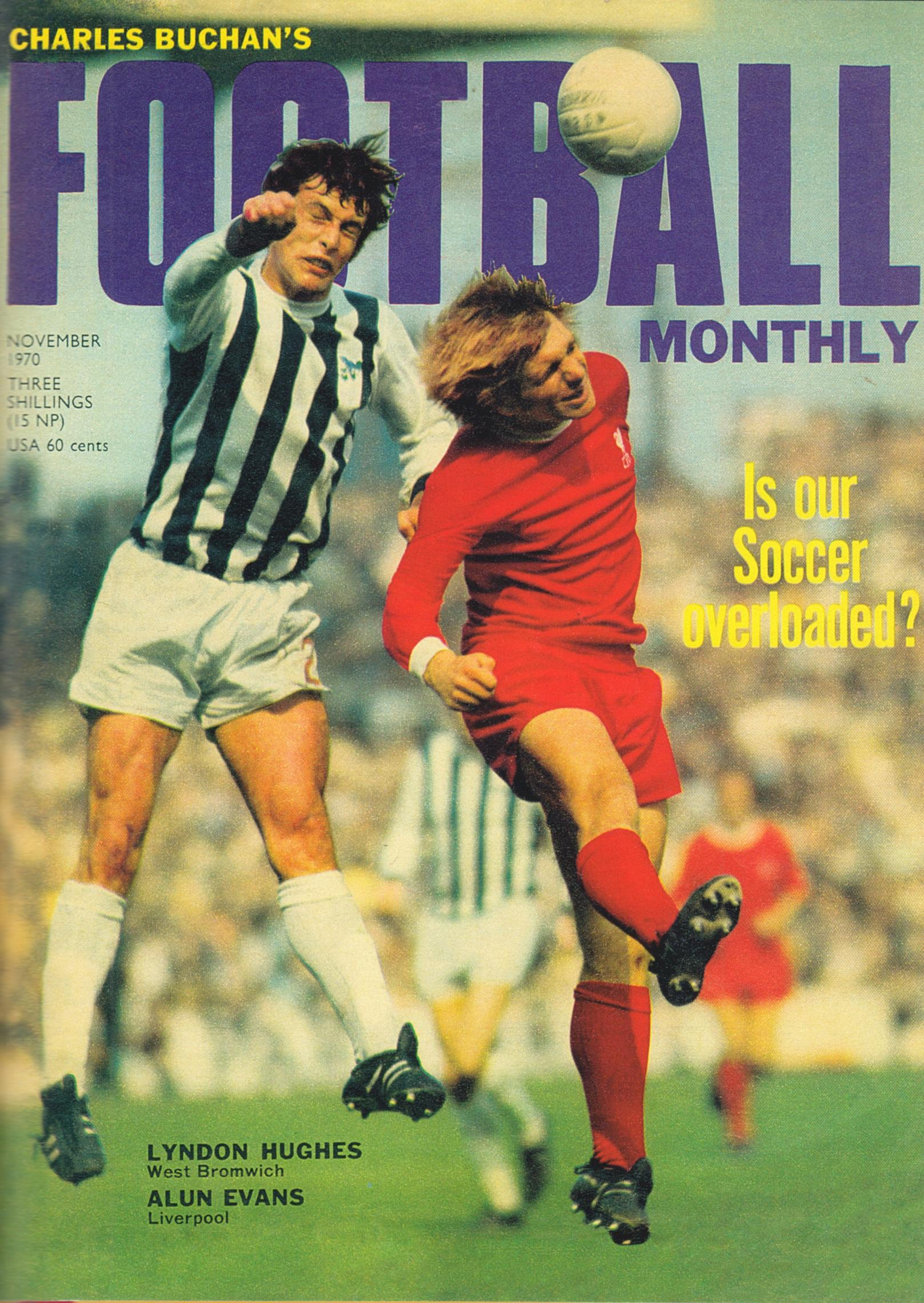 Alun Evans on the cover of Football Monthly in November 1970