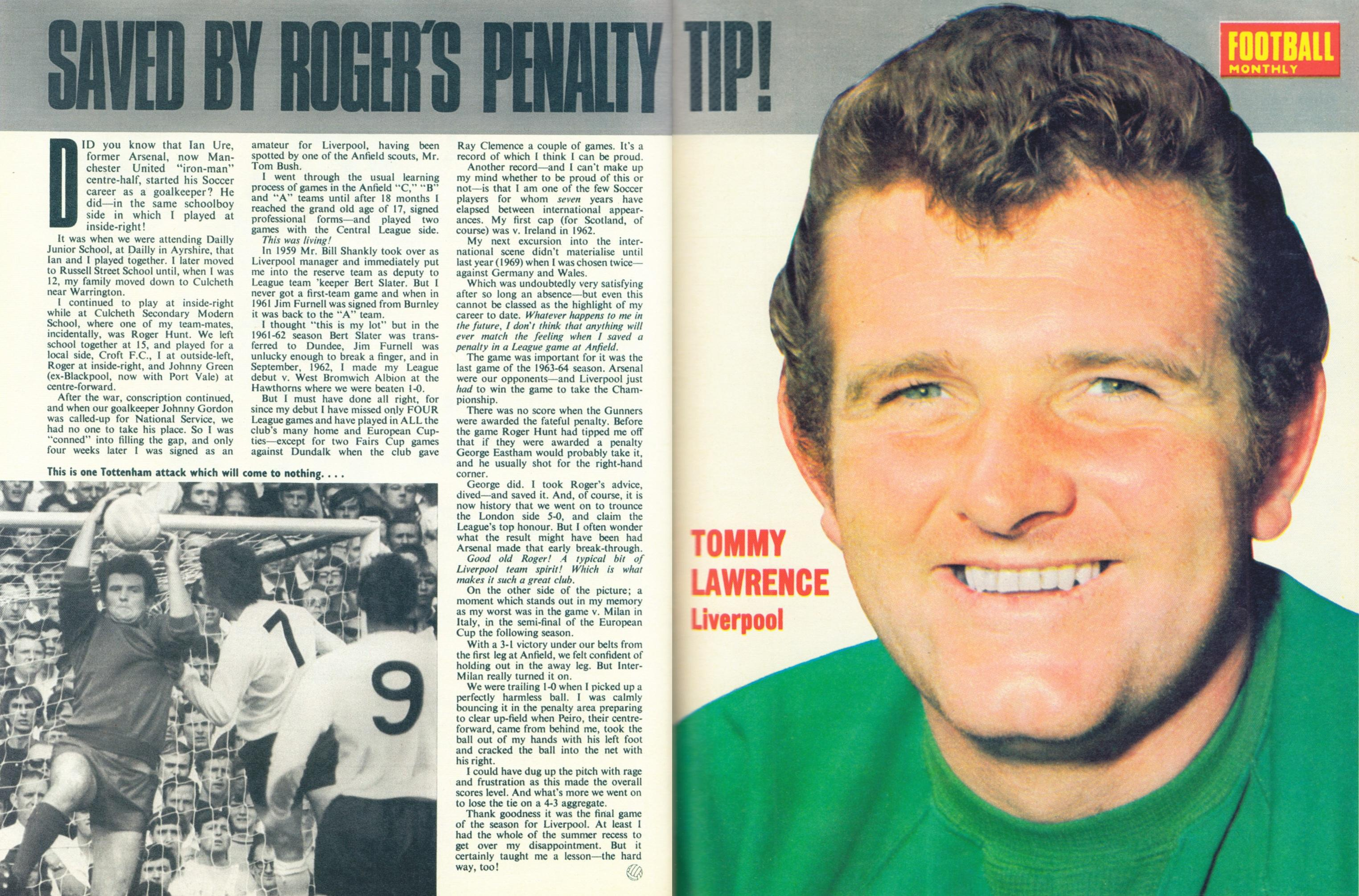 Saved by Roger's tip - Football Monthly April 1970