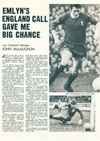 Emlyn's England call gave me big chance - Football Monthly February 1971