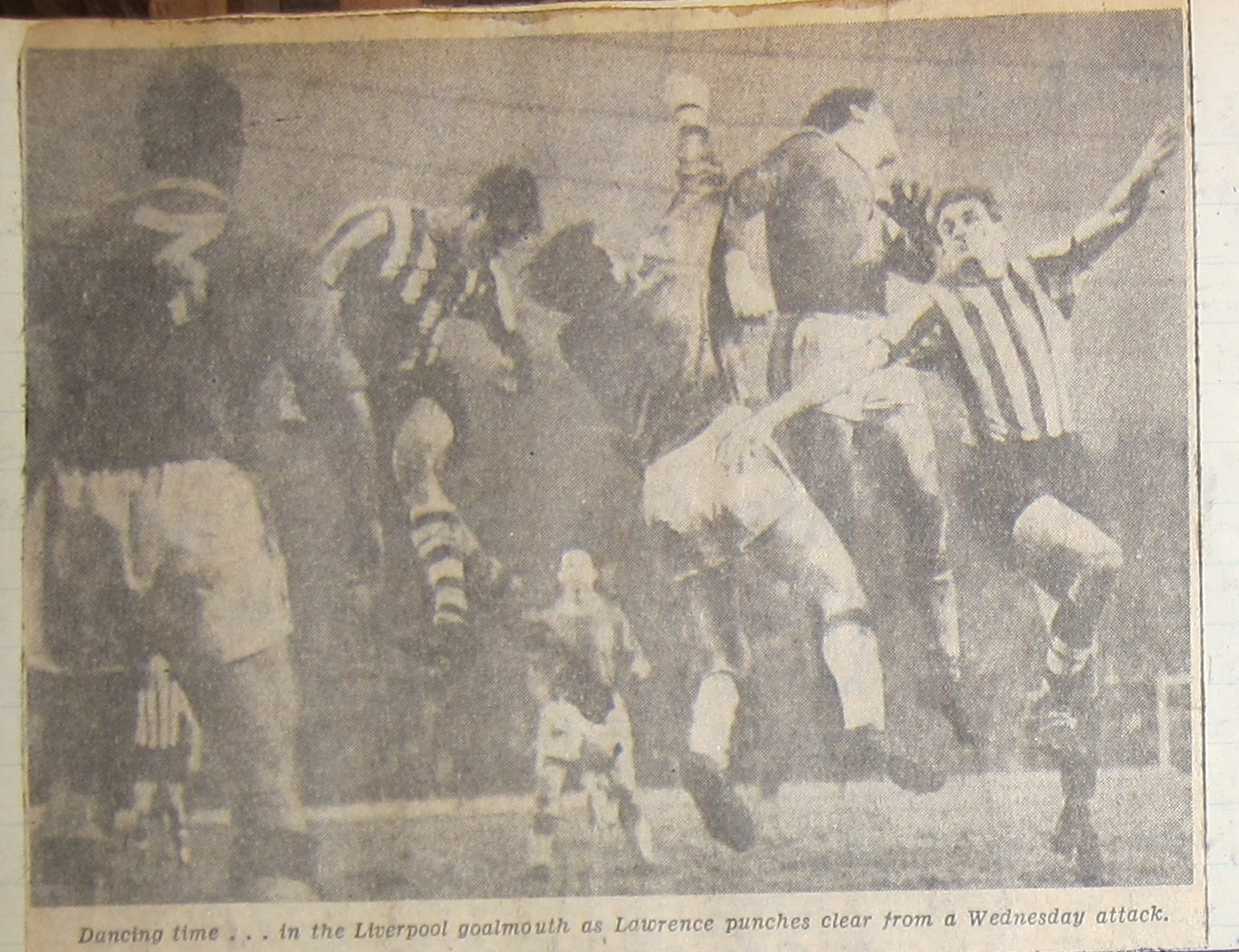 Lawrence punching clear versus Sheffield Wednesday 8th December 1962 (image)