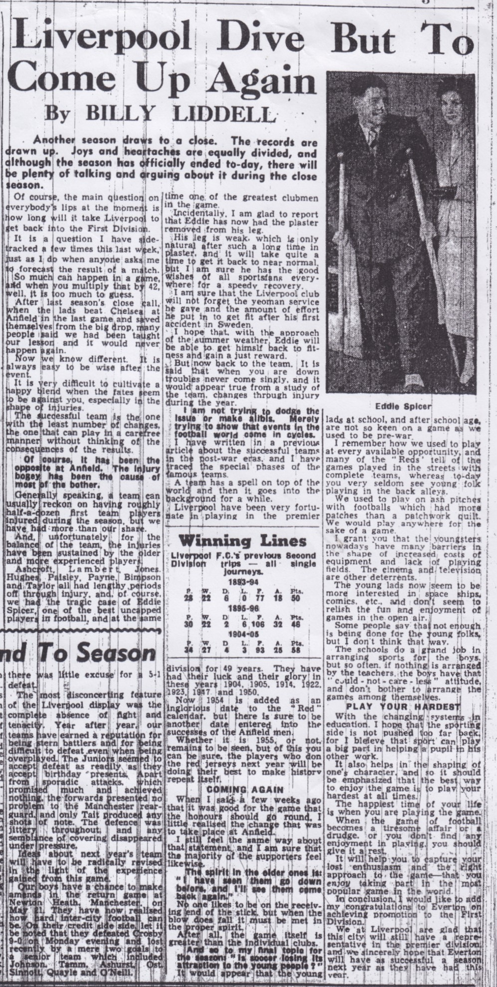 Liverpool to come up again - from the Echo in May 1954