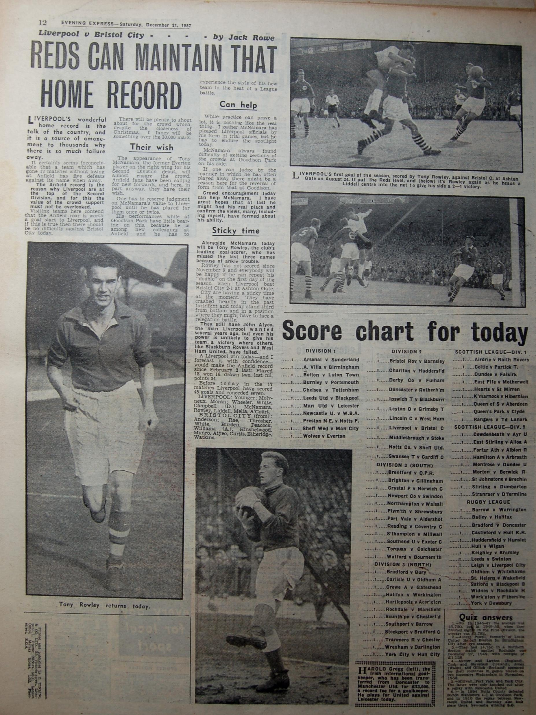 Evening Express preview (Courtesy of Adrian Killen) - 21 December 1957