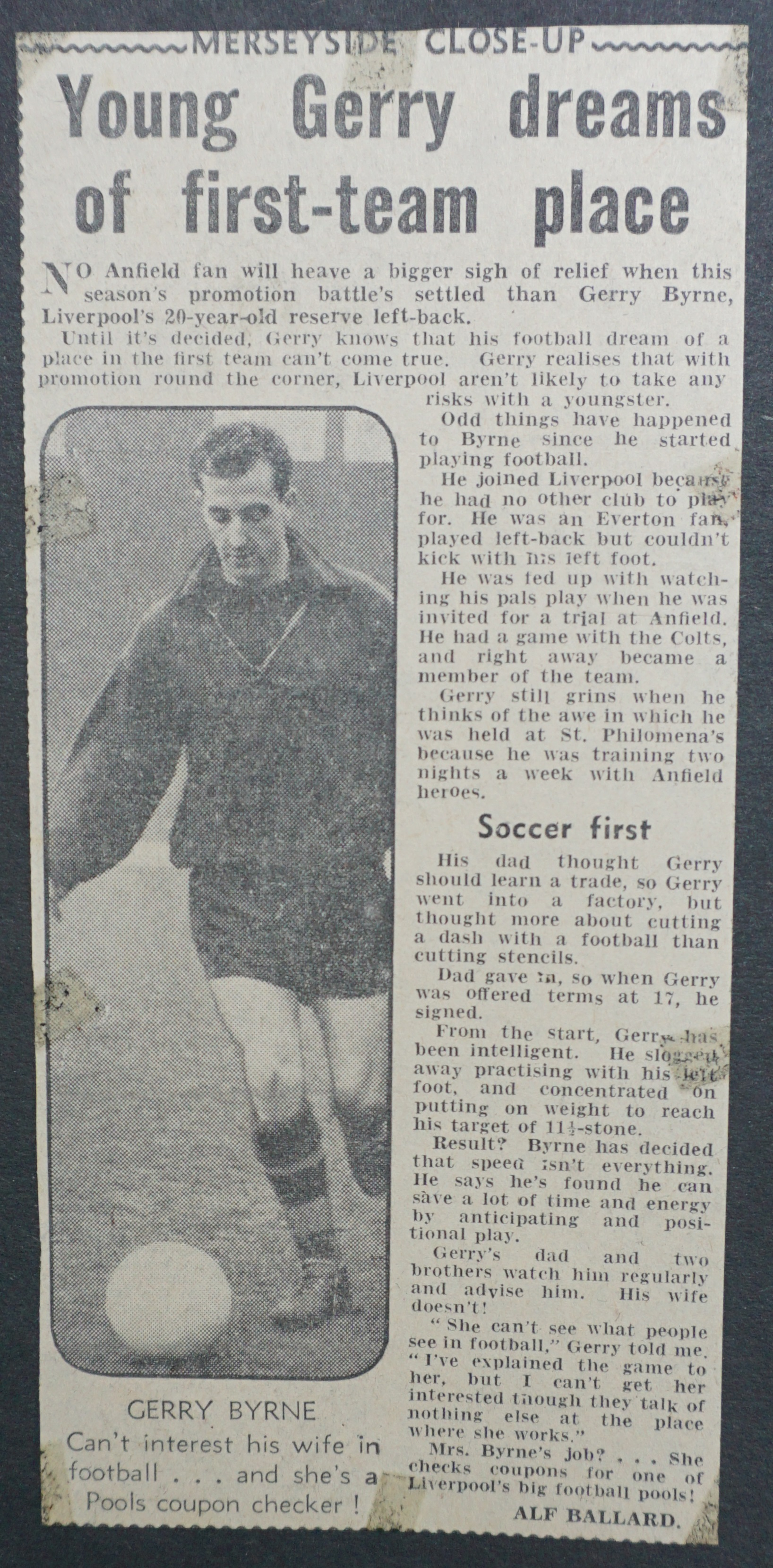 Young Byrne dreams of first-team place 1958-59