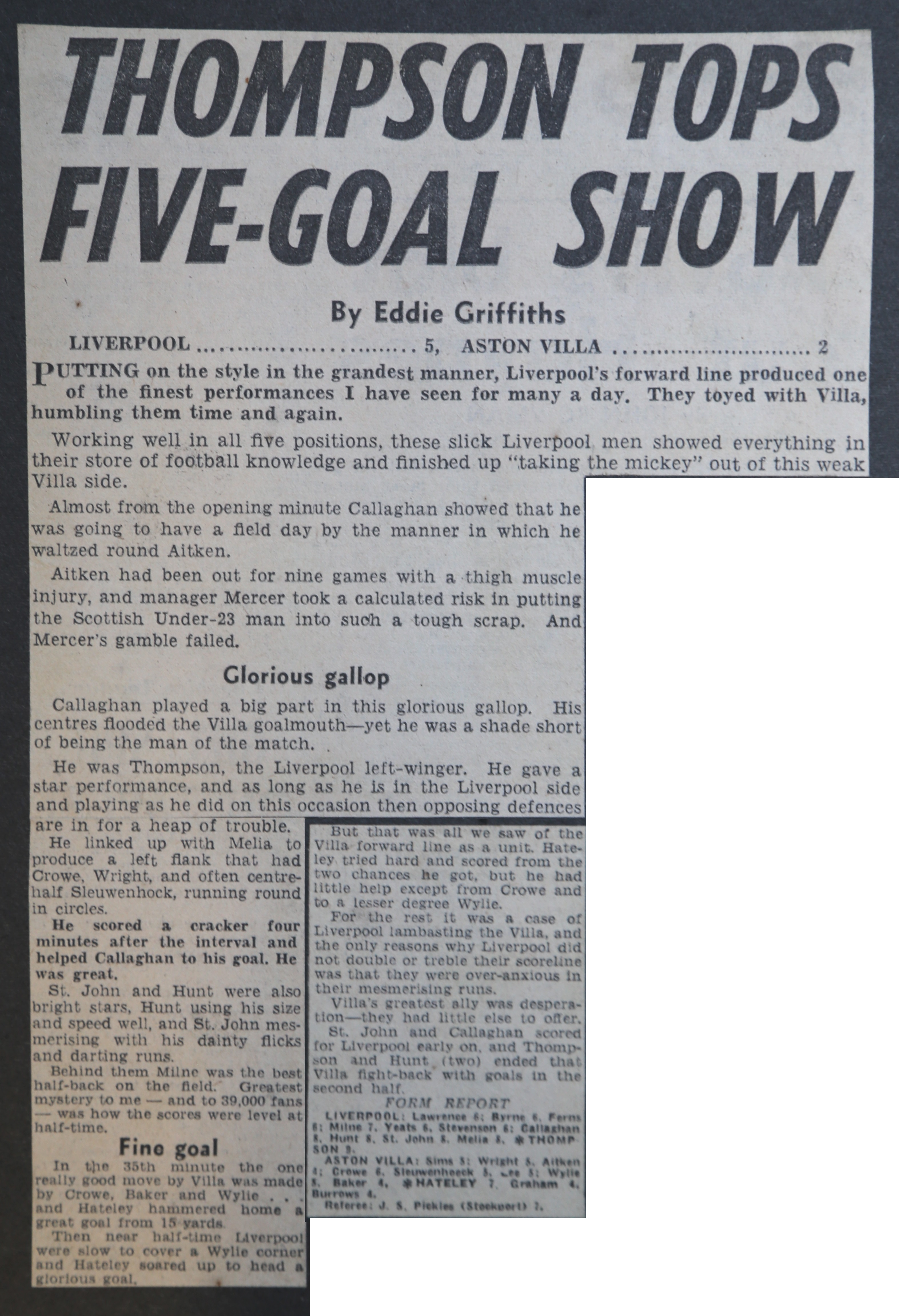 Thompson tops five-goal show - 5 October 1963