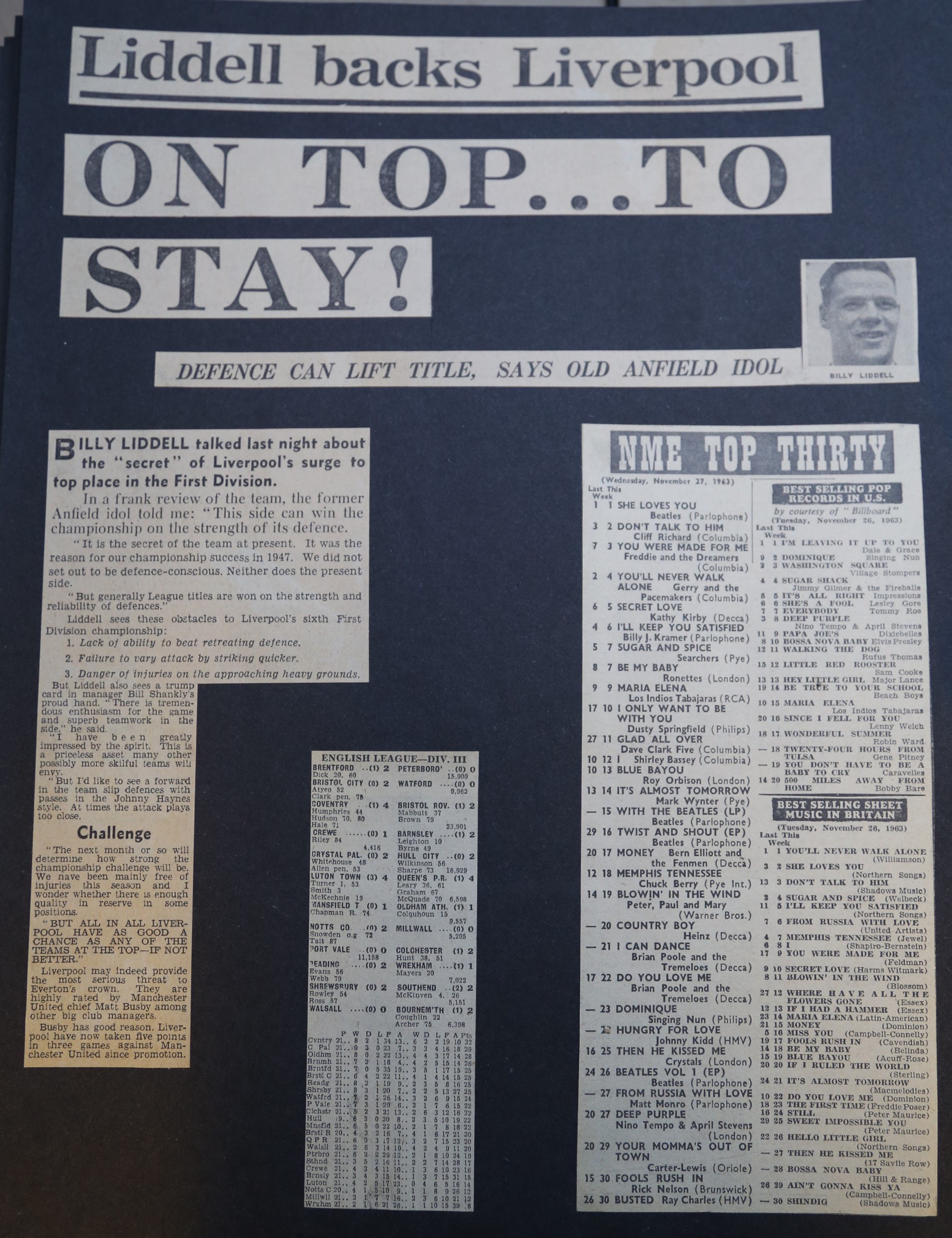 Liddell backs Liverpool on top to stay! - November 1963
