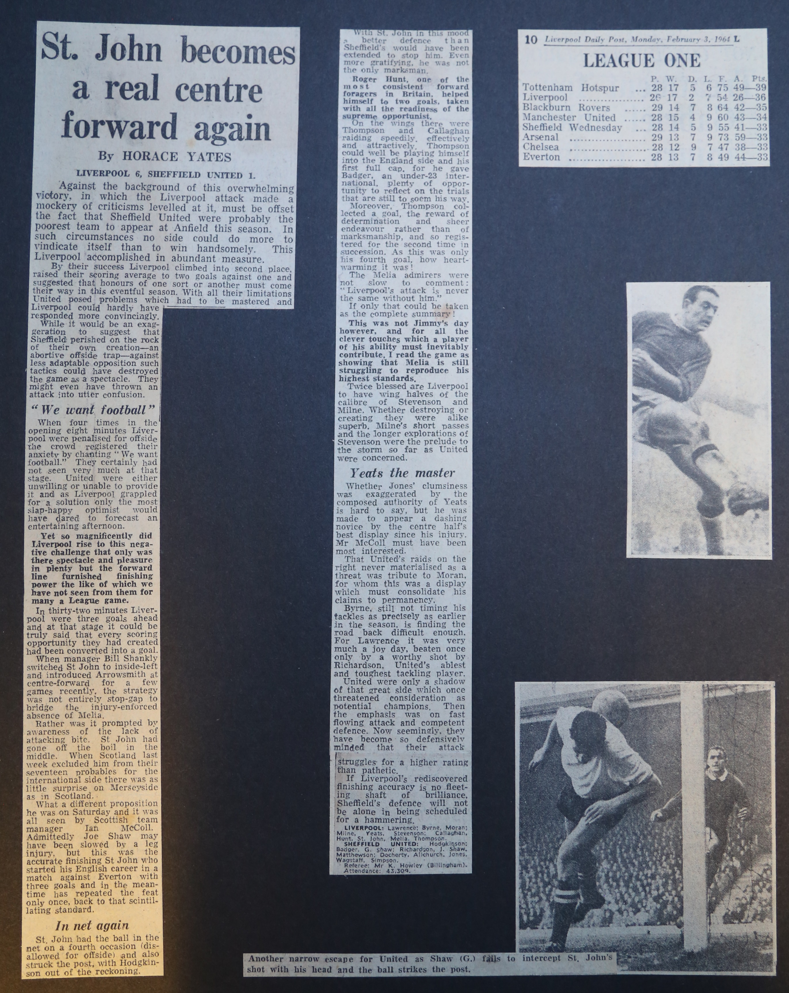 St John becomes a real centre forward again! - 1 February 1964
