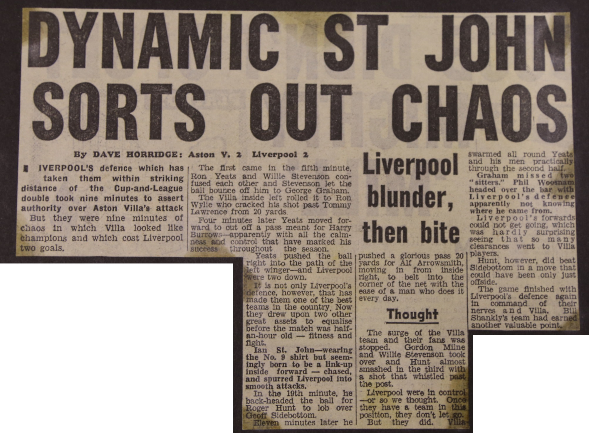 Dynamc St John sorts out chaos - 19 February 1964