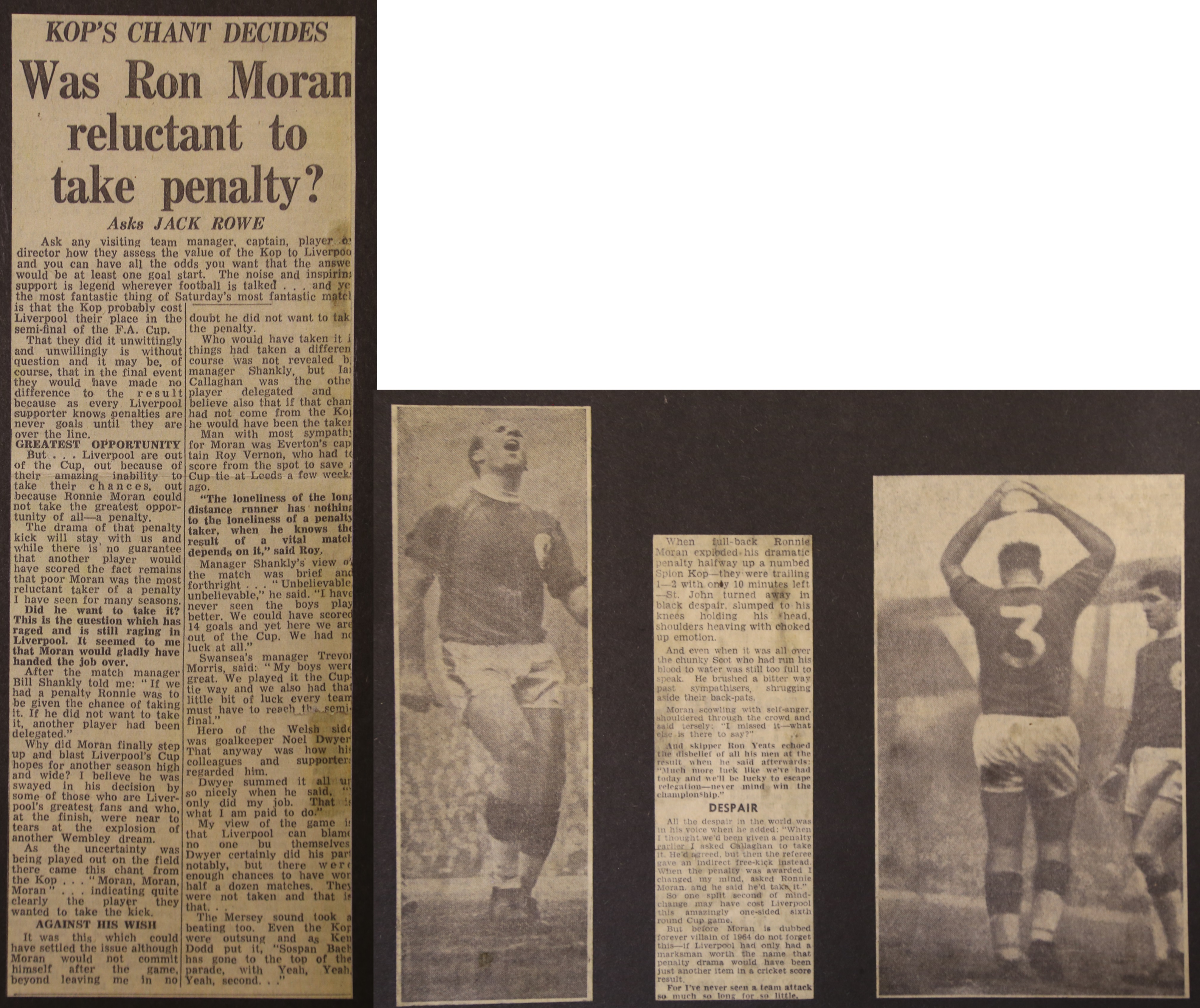 Was Moran reluctant to take the penalty? - 29 February 1964