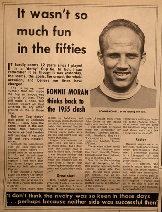 Moran looks back in 1967 to the Everton game on 29 January 1955
