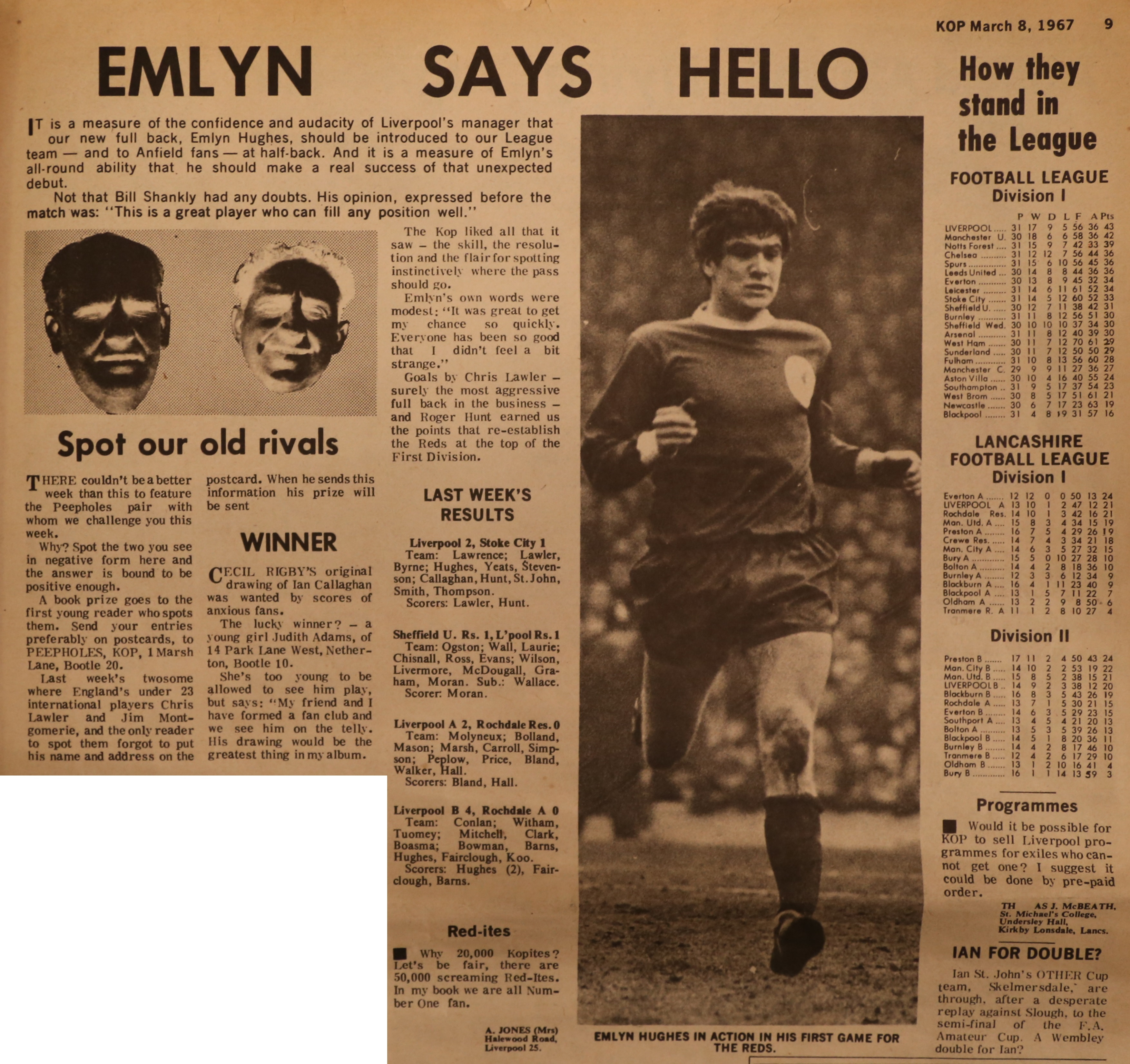 Emlyn says hello - From The Kop on 4 March 1967