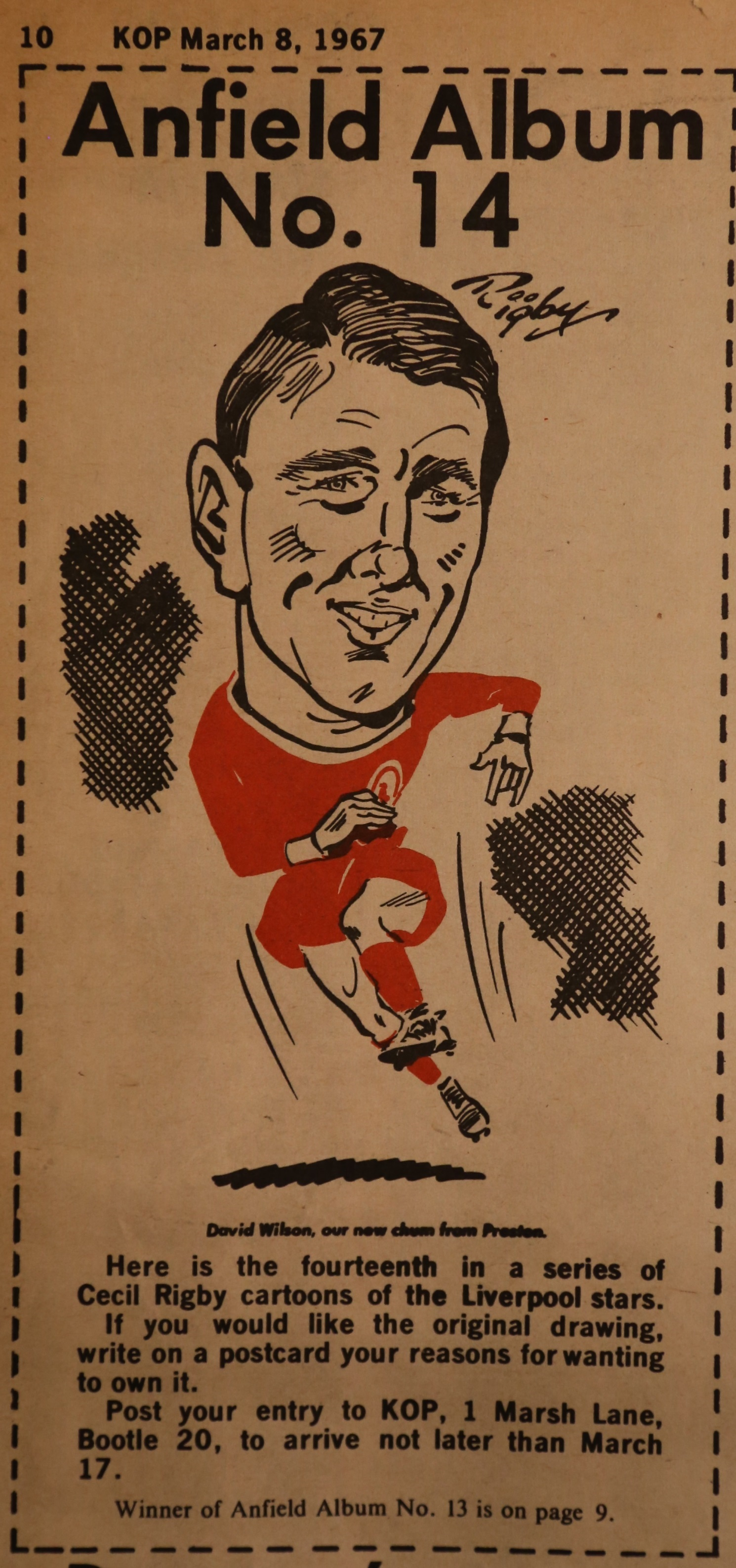 Cartoon of Peter from The Kop magazine on 8 March 1967