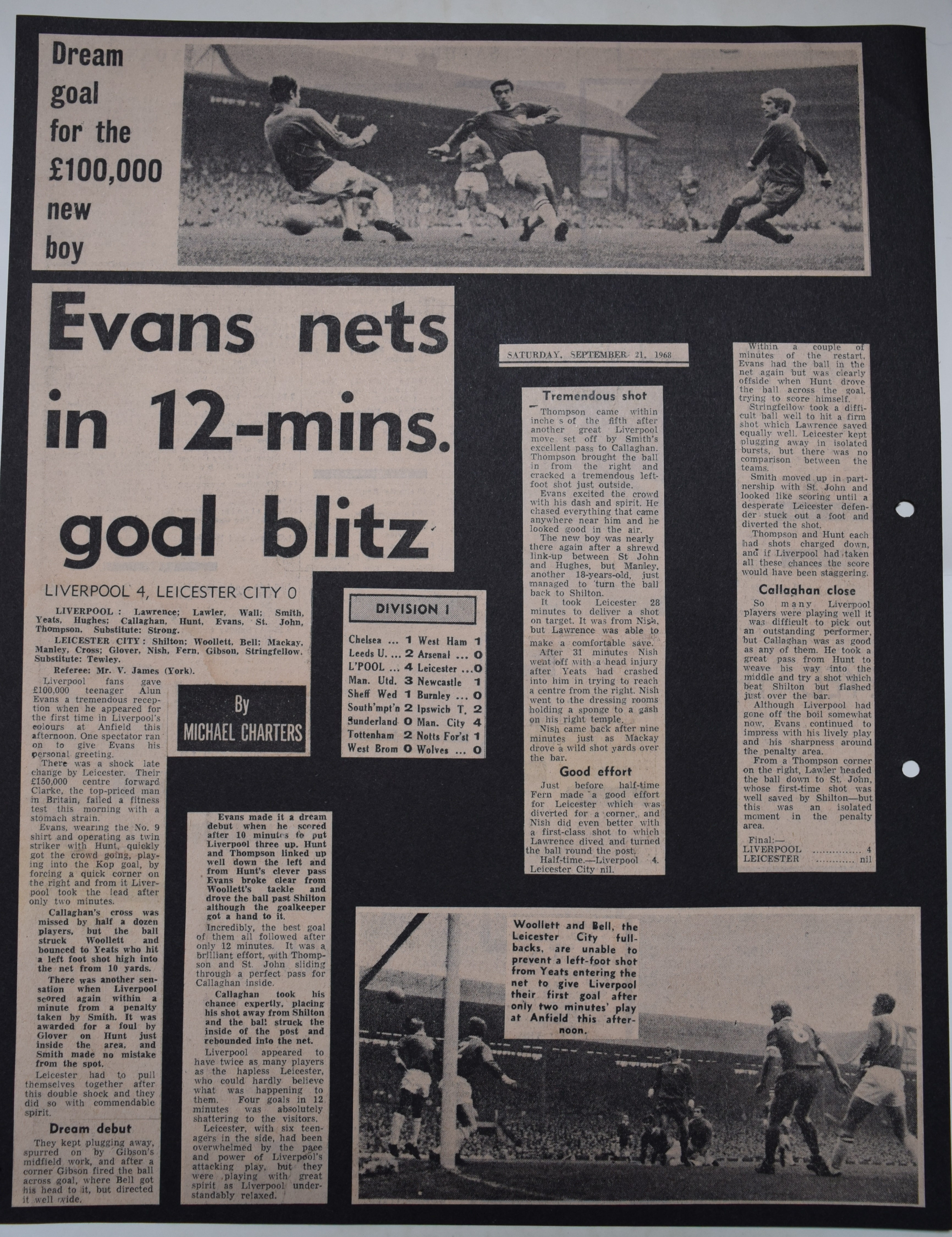 Evans nets in 12 minute blitz