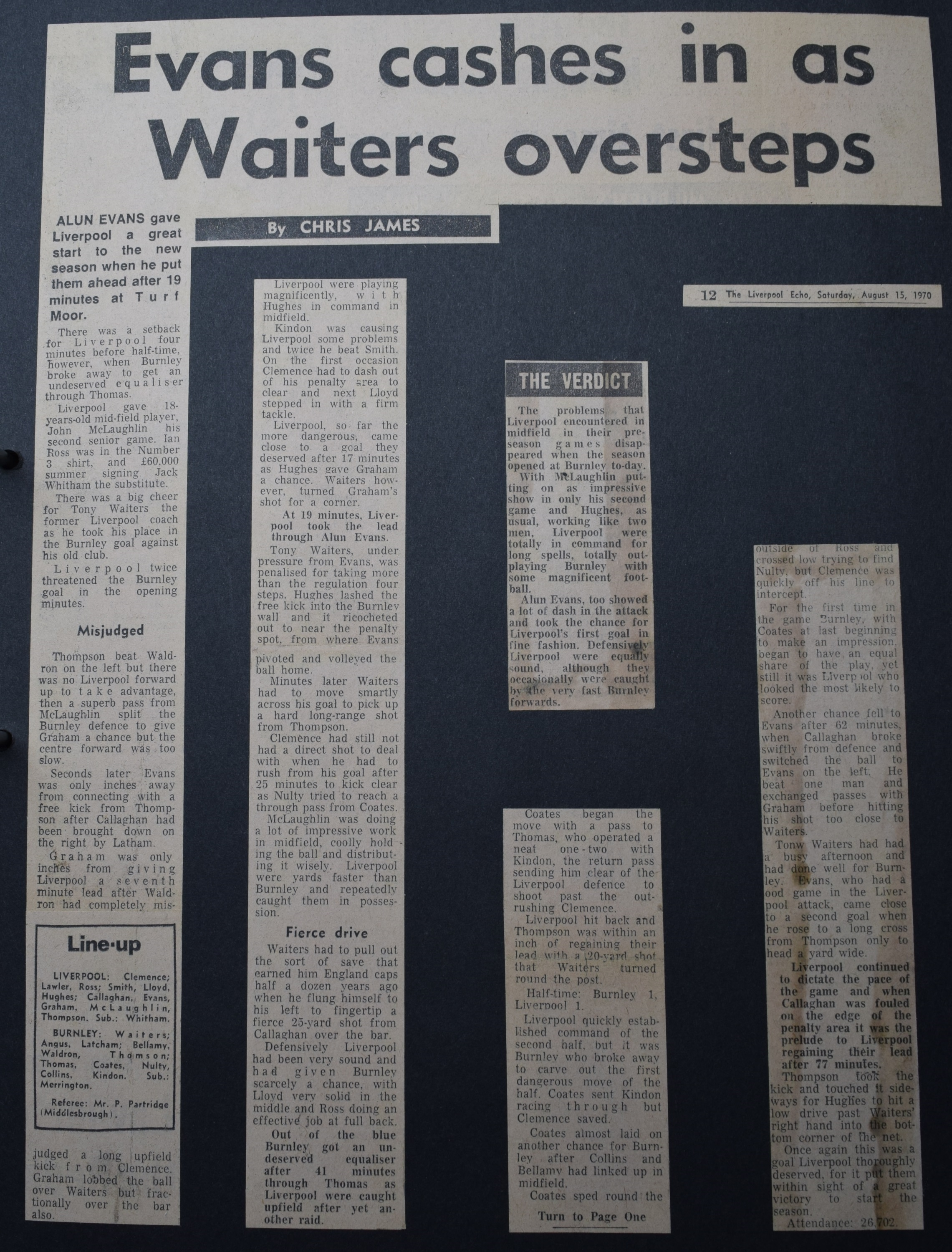 Evans cashes in as Walters oversteps - 15 August 1970