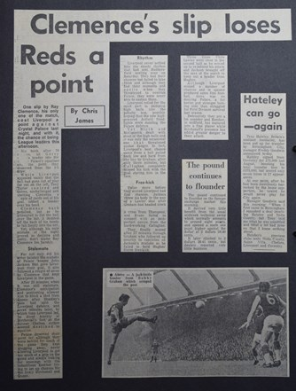 Clemence's slip loses Reds a point - 25 August 1970