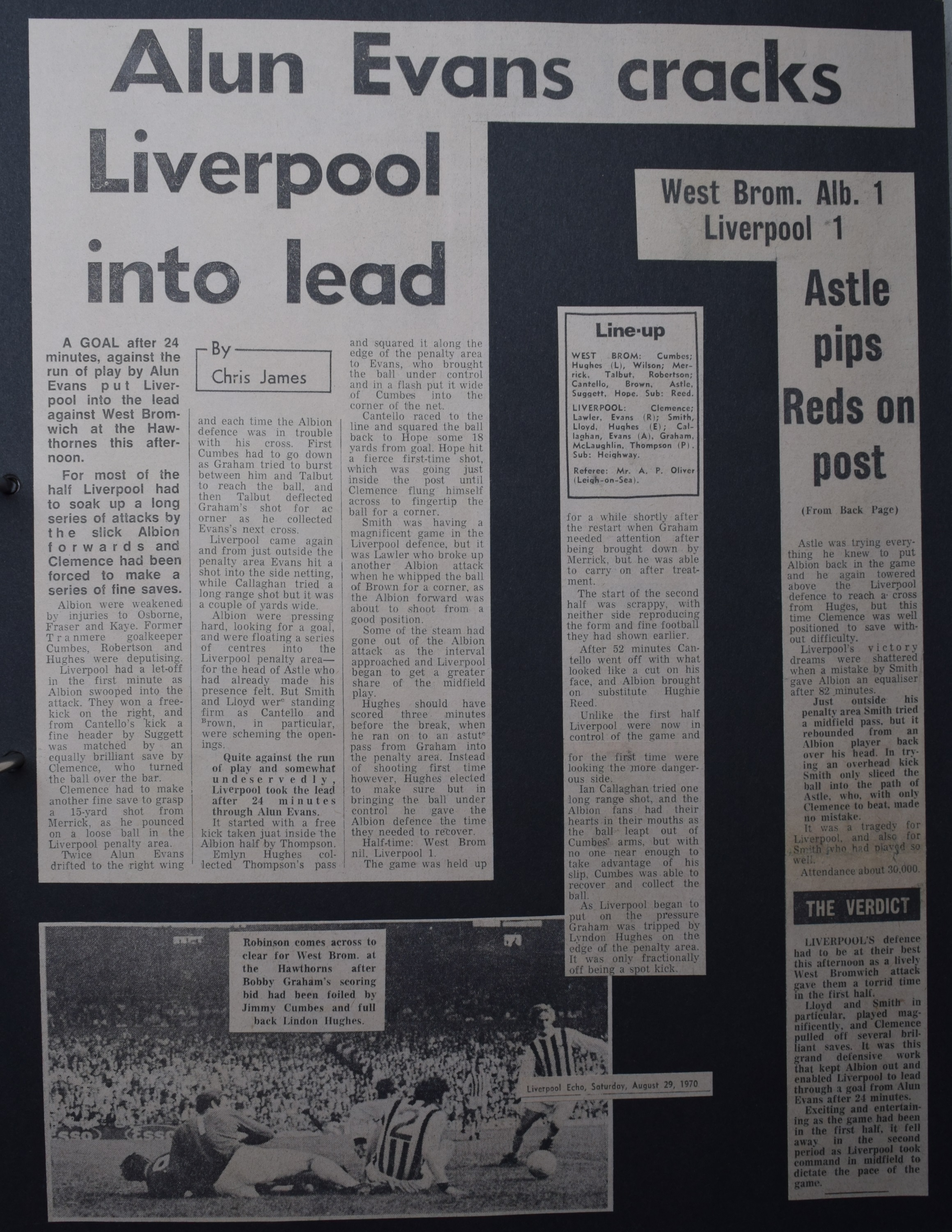 Alun Evans cracks Liverpool into the lead! - 29 August 1970