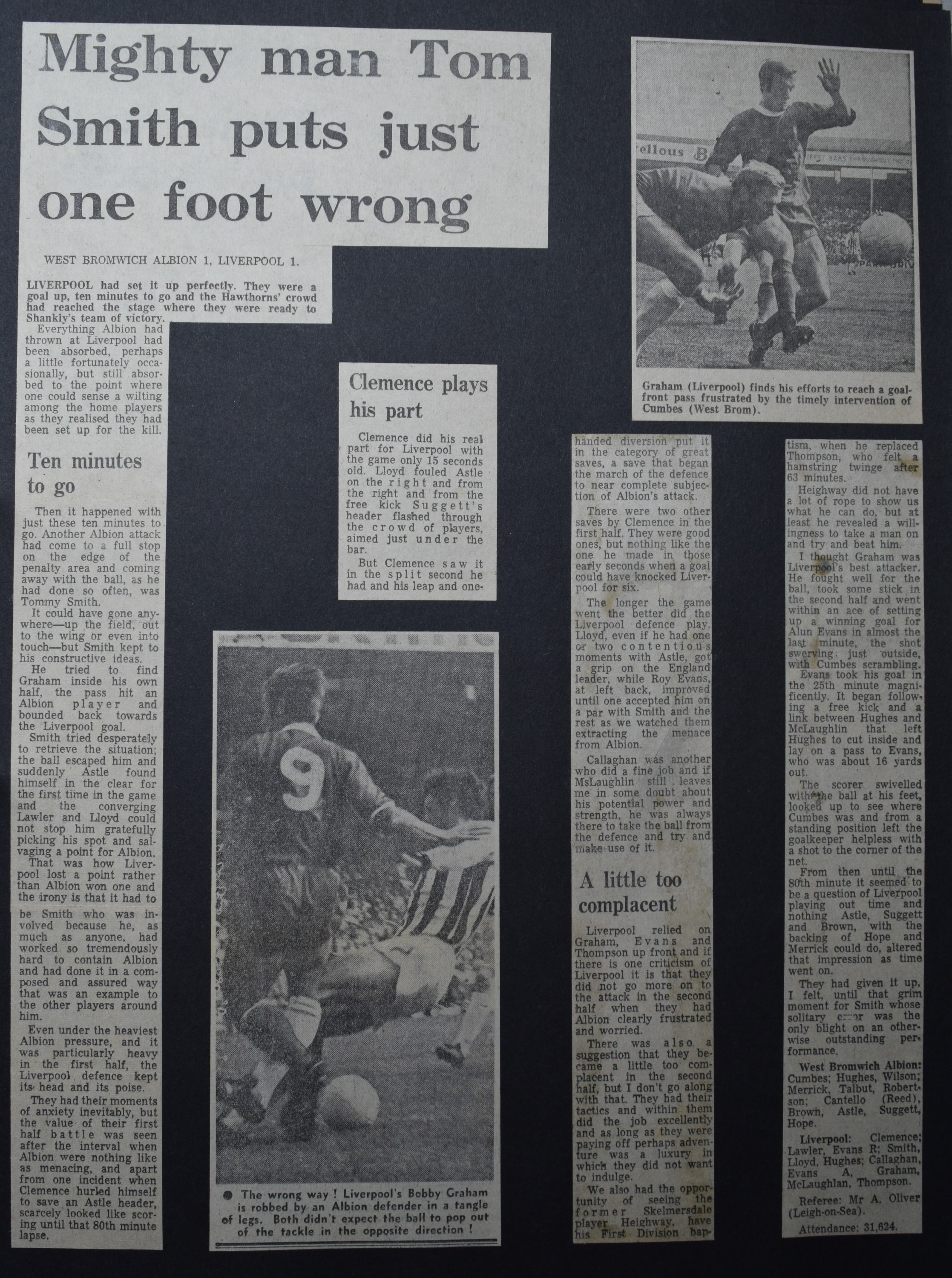 Mighty man Tom Smith just puts one foot wrong! - 29 August 1970