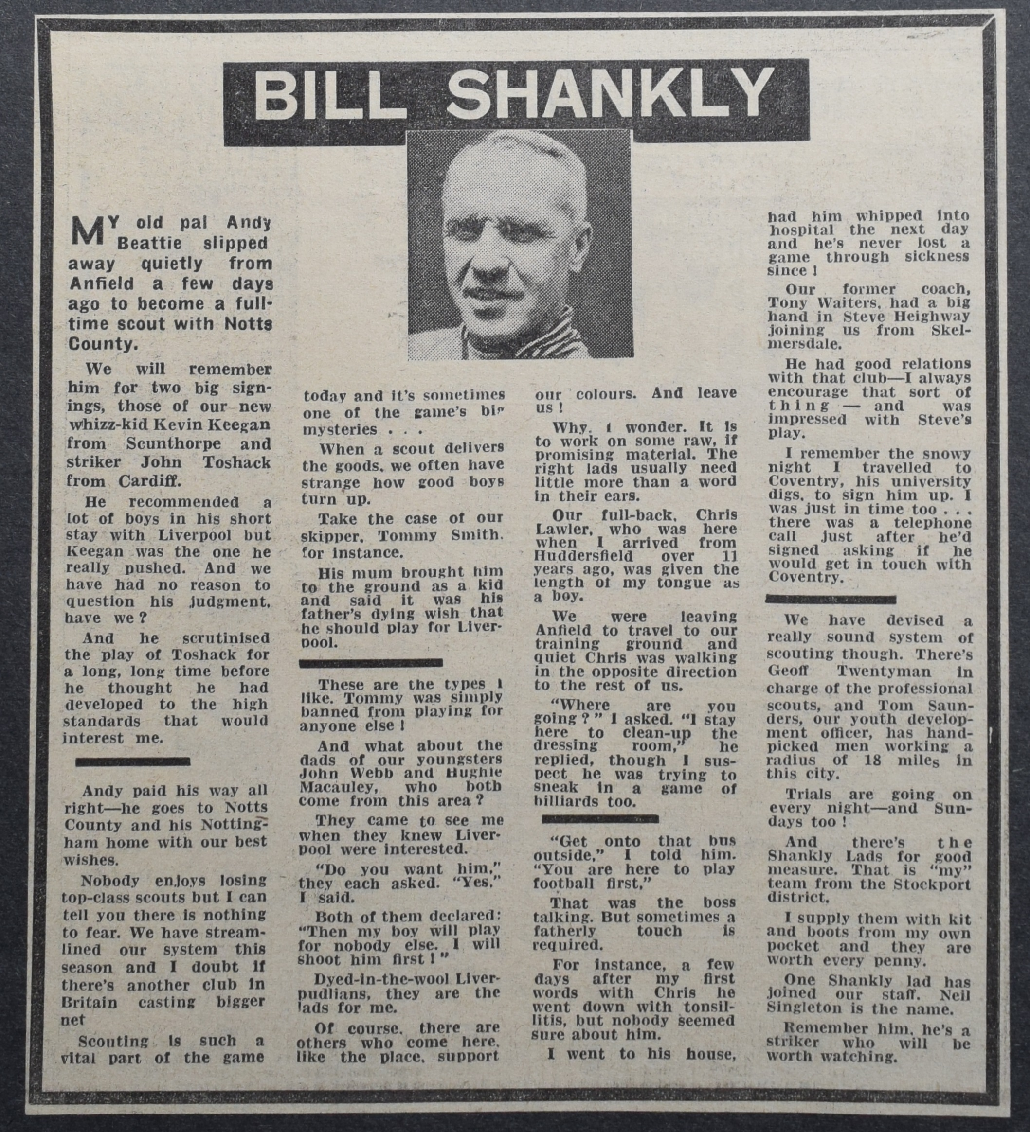 Bill Shankly's column - 7 September 1971