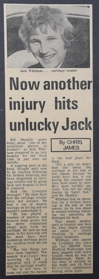 Another injury hits unlucky Jack - 23 August 1972