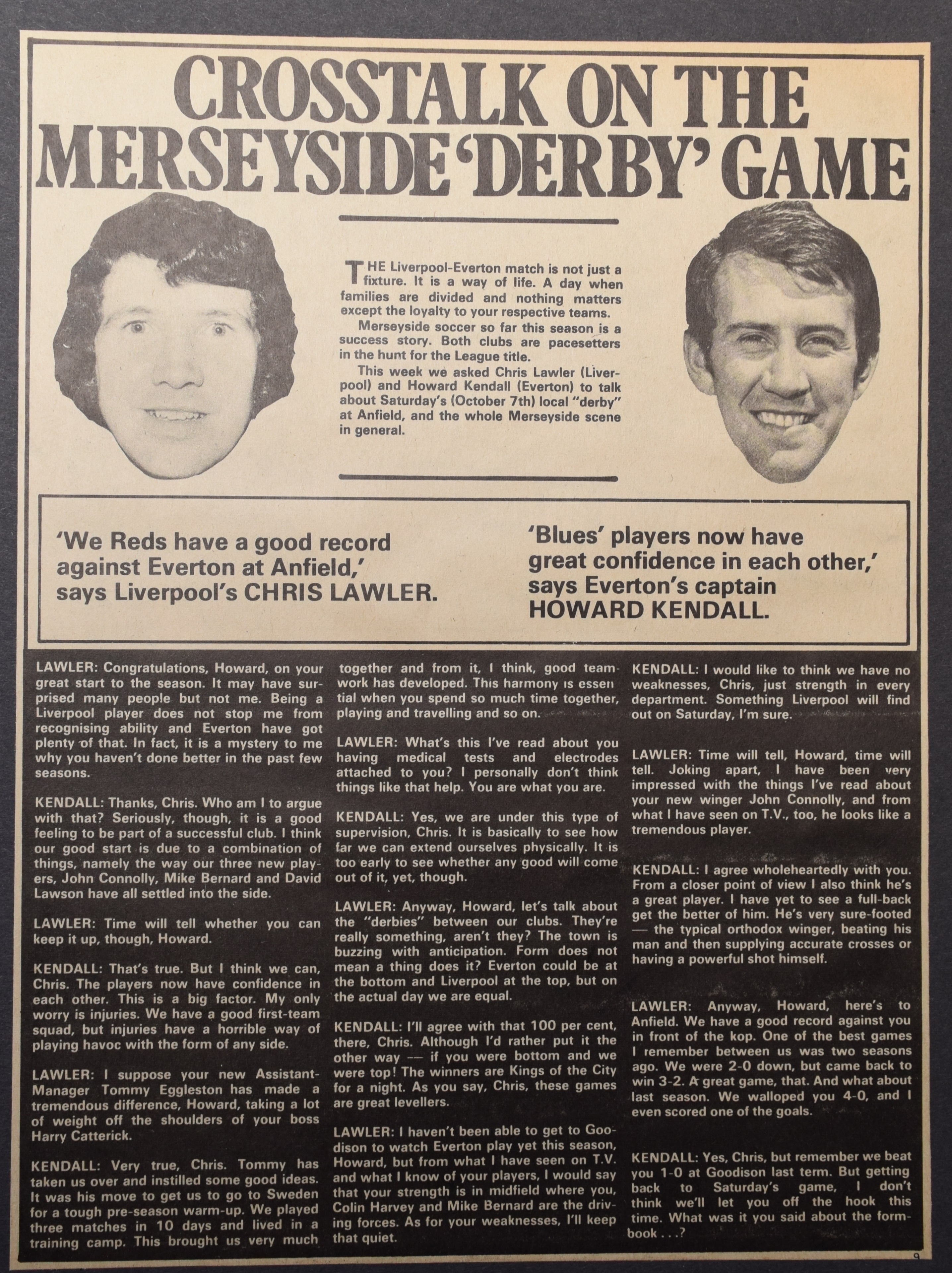Crosstalk on the Merseyside derby game - 6 October 1972