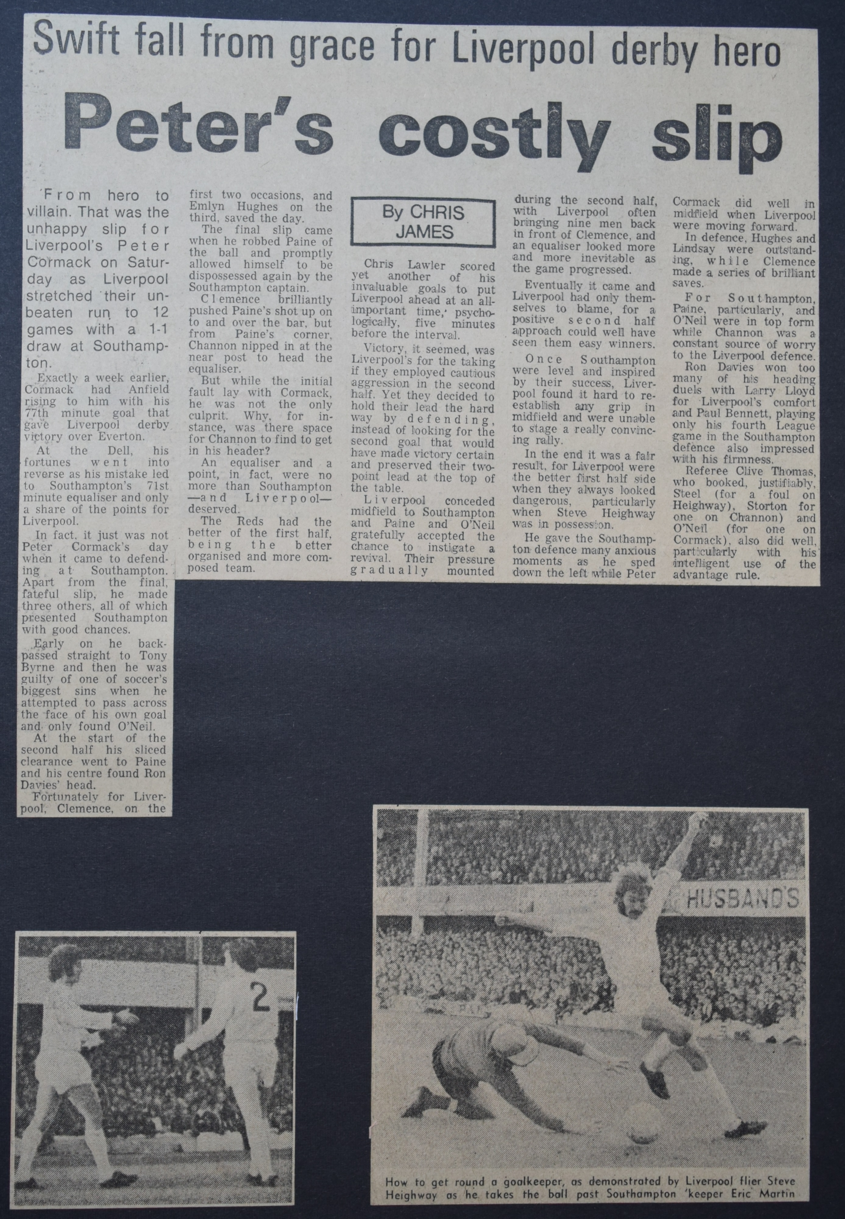 Peter's costly slip - 14 October 1972