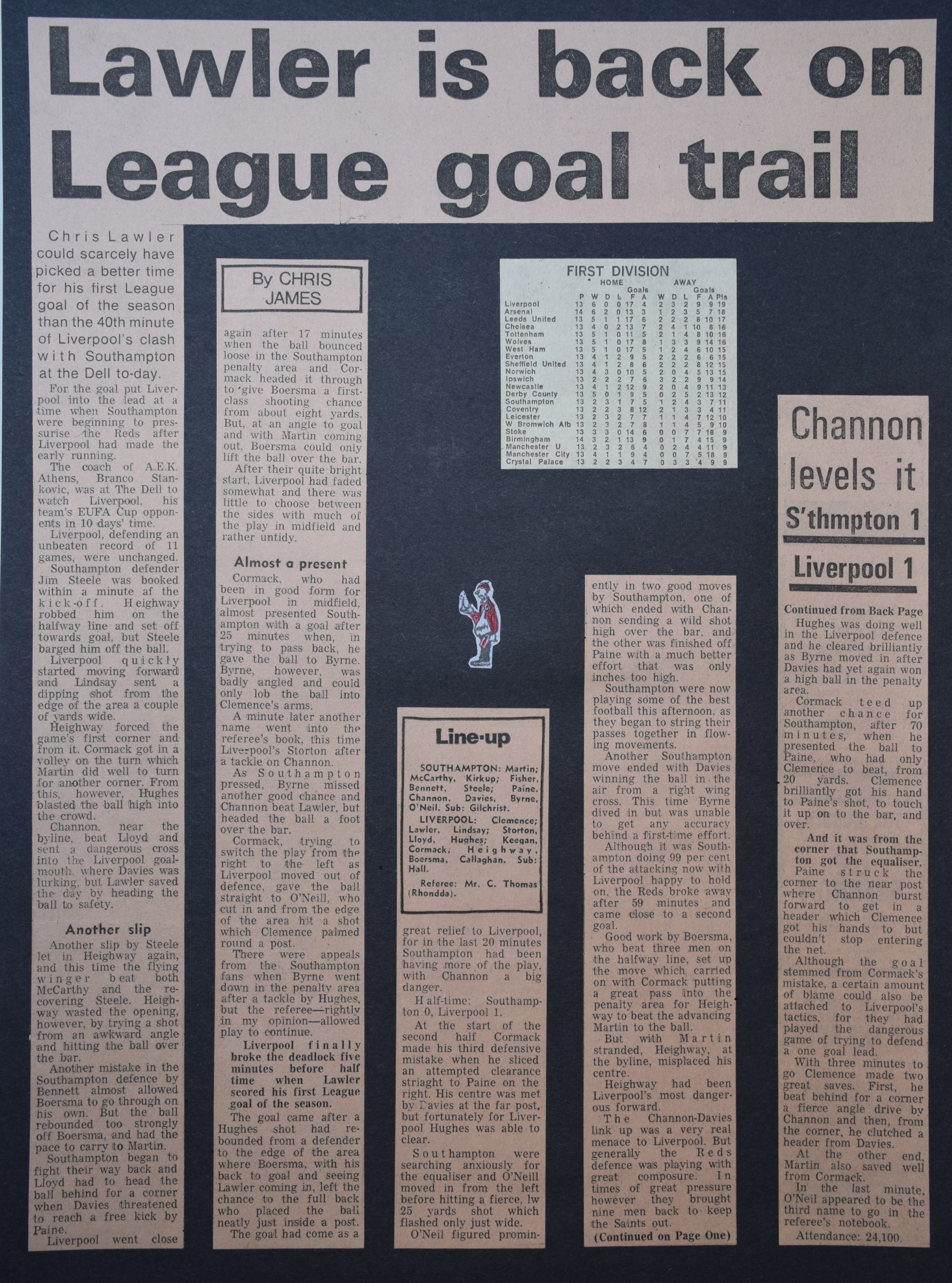 Lawler is back on league goal trail - 14 October 1972
