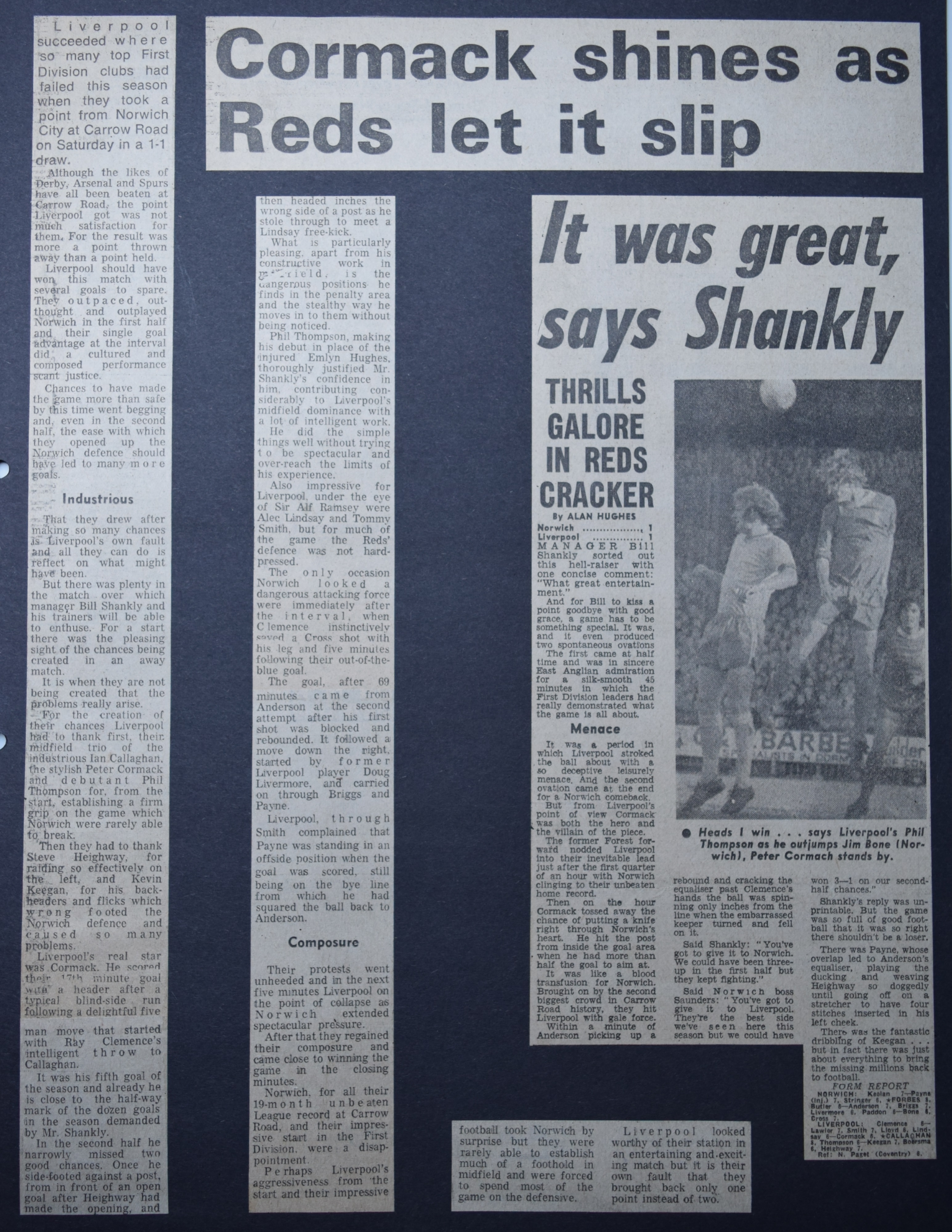 Cormack shines as Reds let it slip - 28 October 1972