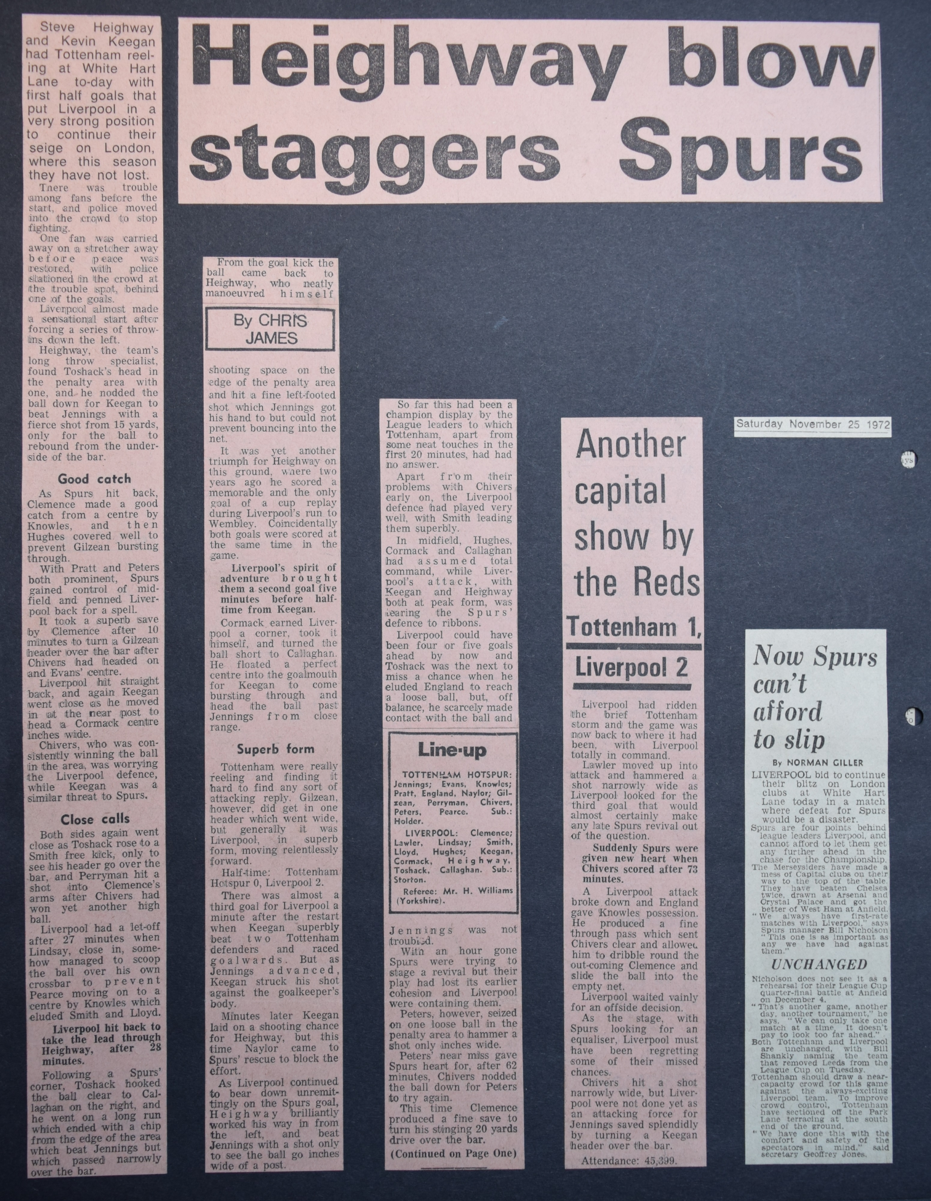 Heighway blow staggers Spurs - 25 November 1972