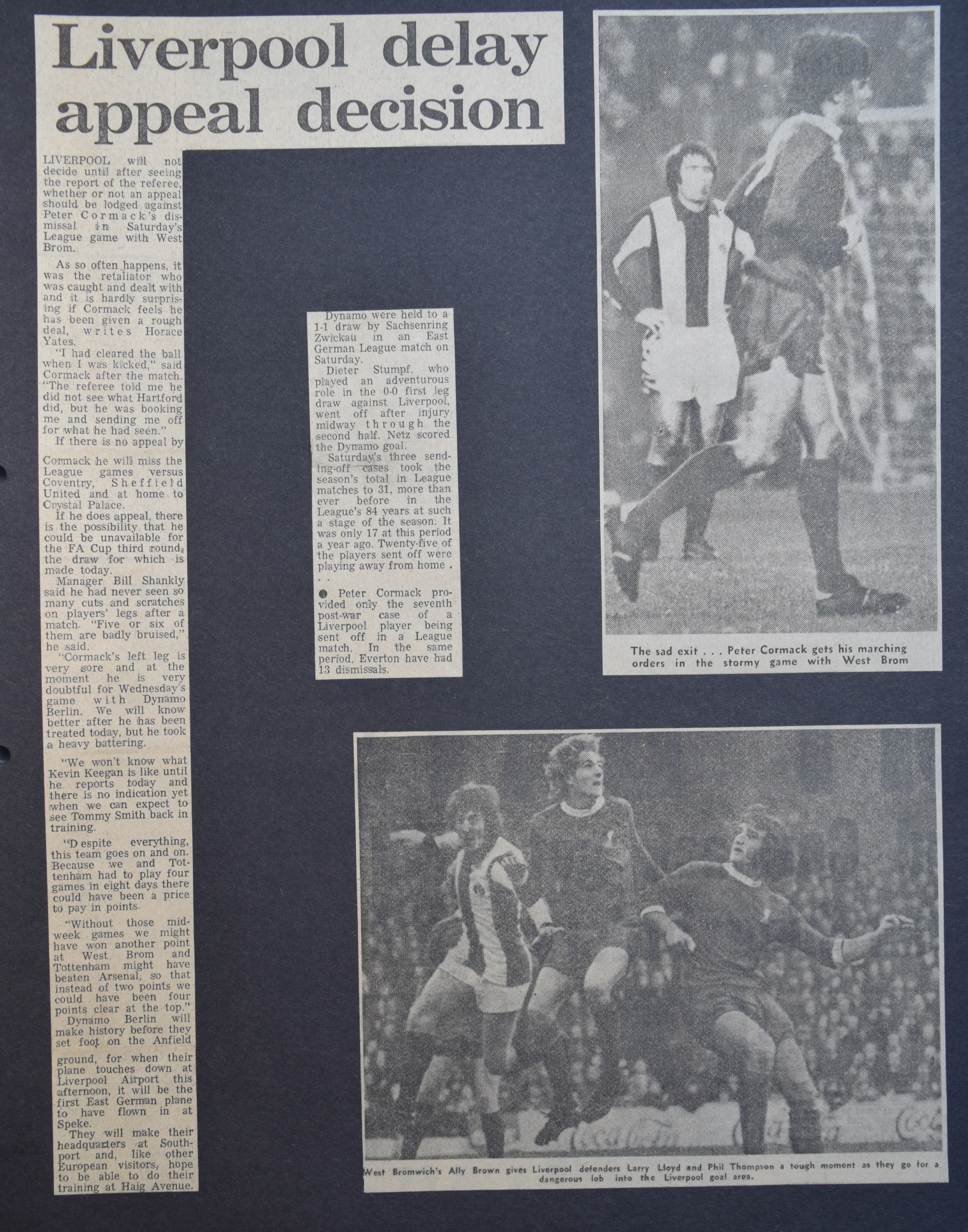 Cormack sent off - 9 December 1972